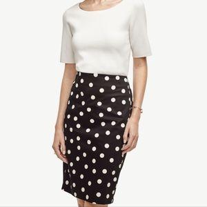 ANN TAYLOR Black White Polka Dot Pencil Skirt Sz:8